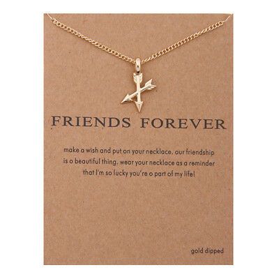 'friends Forever' Arrows Packaged Card Necklace Xmas Gift Gold Silver Uk Seller