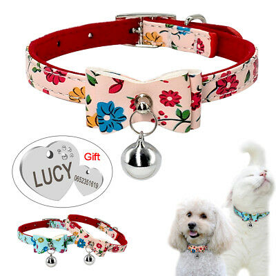 Cute PU Leather Dog Collars with Engraved Dog Tags for Small Puppy Cat Chihuahua