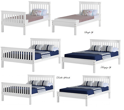 Monaco White Bed Frames Available in All Sizes From Single 3ft To Kingsize 5ft