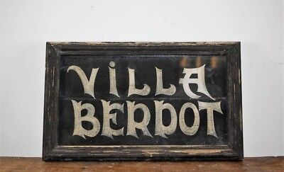 """Antique French House Sign """" Villa Betdot"""" Hand Painted"""