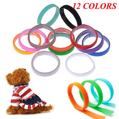 12pcs Réglable Chiot Collier ID Bandes Identification Chiot Chien Chat Chaton FR