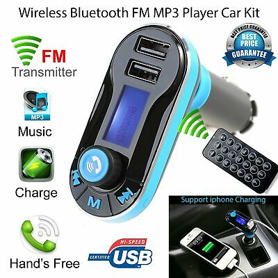 Wireless Bluetooth FM Transmitter Dual USB Charger for iPhone 7 6S Plus LG V10