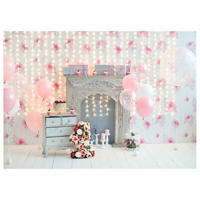 7x5ft-2.1x1.5m Pink Background for Flowers Birthday Balloon Lighting Photo Shoot
