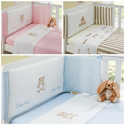 Beautiful 3 Piece Luxury Baby Bale Set Bumper, Quilt, & Fitted Sheet  Cot Bed