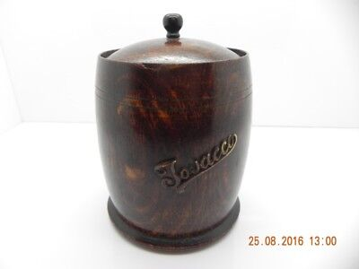 Antique Collectable Tobacco Jar Made Of Solid Wood And Lidded