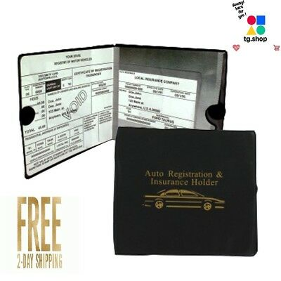 2 Pack Car Auto Insurance Registration Document Holder Wallet ID Book BLACK US