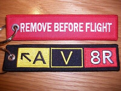 RAF Aviation  Embroidered 'Remove Before Flight And AV8R Taxiway Sign Keychain