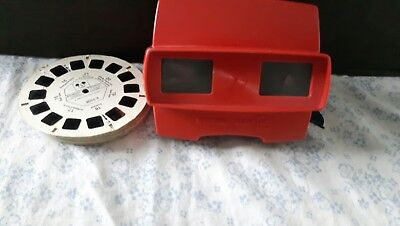 VINTAGE RED 3D VIEWMASTER WITH 10 disney slides