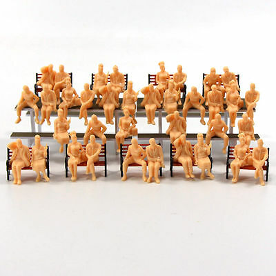 P4803B 48pcs All Seated  Figures O scale 1:48 Unpainted People Model Railway NEW