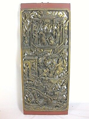 Excellent Chinese Gilt Warrior Or Temple Plaque Or Panel