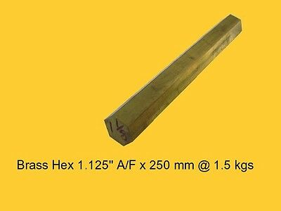 "Brass Hex 1.125"" A/F x 250 mm-Lathe-Steam-Mill-OG"