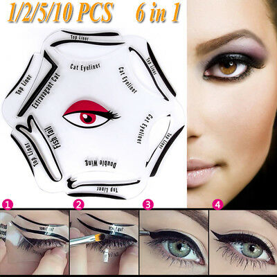 1/2/5/10 pcs 6 in 1 Eyeliner Stencil Makeup Guide Quick Smoky Cat Eye Liner Tool