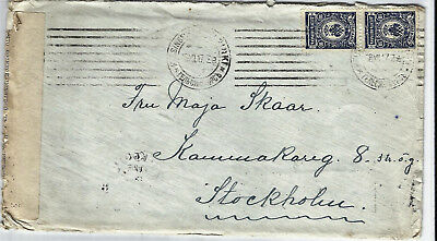 Finland, censored cover to Sweden, 1917, Russian stamps 2x 10 kop.