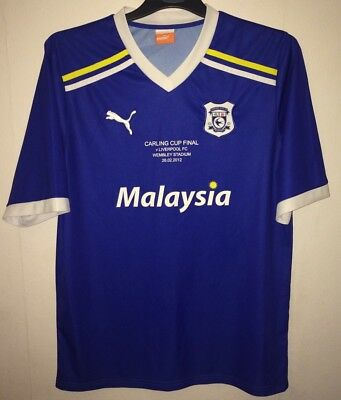 Cardiff City League Cup Final 2012 Football Shirt 2011/12 Adults Large Nike