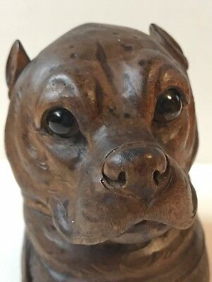 INK POT DOG CARVED wood 19th century Wonderful ANTIQUE INK WELL