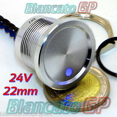 PULSANTE PIEZOELETTRICO 22mm LED BLU 24V piezo switch momentary pulse alluminio