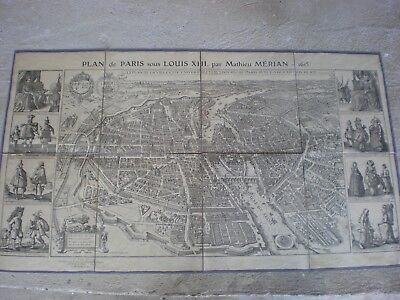 Ancien Plan De Paris Sous Louis Xiii Mathieu Merian  1615  Entoile
