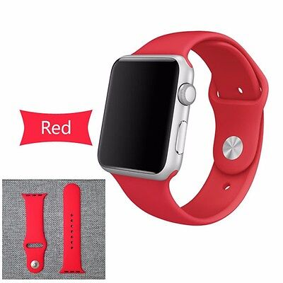 Apple Watch Replacement Strap Silicone Sport Bracelet Band for iWatch Red 38mm