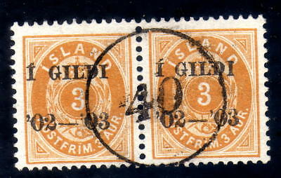 Iceland numeral canc. 40 on pair fac. 49 LUXUS !!