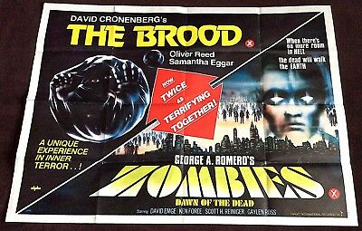 The Brood / Zombies Dawn Of The Dead - Original Uk Cinema Poster 40'' X 30''