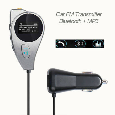 Wireless Bluetooth Car Kit FM Transmitter with LCD Screen and Hands Magnetic