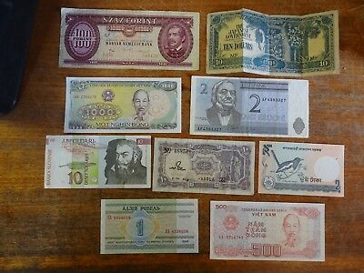 9 Assorted World Banknotes