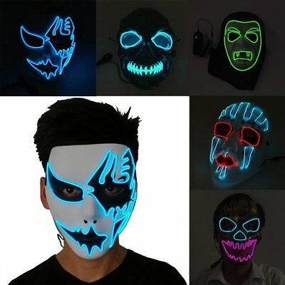 Face Mask With LED Light For Party Halloween Dance Cosplay Carnival Decor Lot DE