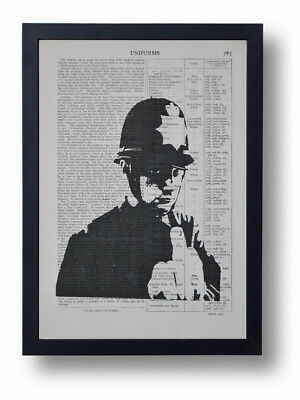 Banksy Swearing Copper Policeman Art Print On Old Antique Book Page