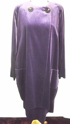 Beautiful Vintage Jaeger Skirt Suit, Purple Velvet, Skirt S16,  Coat S18    #cr#