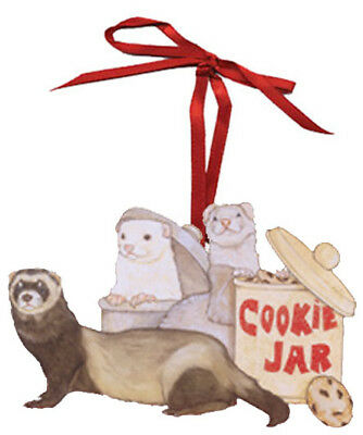 Ferret Cookie Jar Wooden Ornament