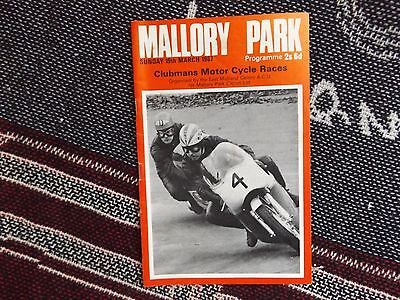 1967 Mallory Park Programme 19/3/67 - Clubmans Motor Cycle Races