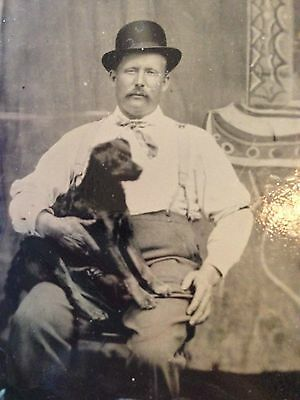 Tintype Photo American Man With Nice Suspenders Hat & Pose - Cute Black Dog