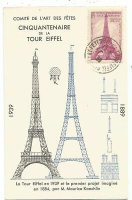 Tour Eiffel 90C Surtaxe Carte Maximum Cinquantenaire 23.6.1939 +  Ballon