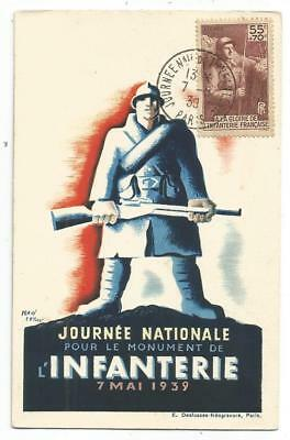 Infanterie 55C Surtaxe Carte Maximum Journee Infanterie Paris 7.5.1939