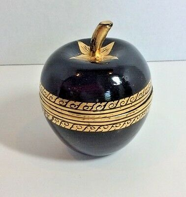 Vtg LACQUERED APPLE WOODEN BOX Black & Gold Handpainted