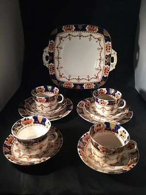 Antique Royal Stafford Imari Pattern Tea Set Plate Cups And Saucers Trios