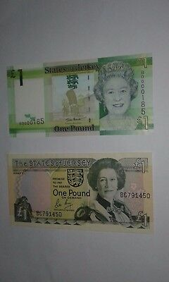States of Jersey One Pound, Two Banknotes, VF+ - EX++