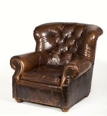 """Leather Lounge Chair, Made by """"Restoration Hardware"""" Lot 24A"""