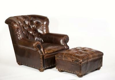 """Leather Lounge Chair and Ottoman, Made by """"Restoration Hardware"""" Lot 24"""