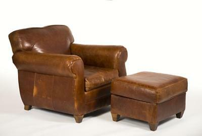 """Leather Armchair and Ottoman, made by """"Mitchell Gold"""" especially for """"... Lot 31"""