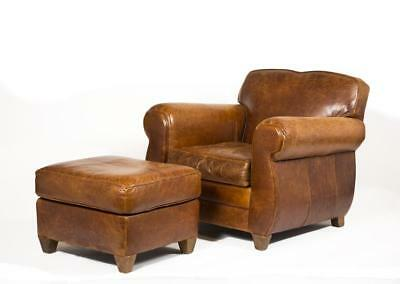 """Leather Armchair and Ottoman, made by """"Mitchell Gold"""" especially for ... Lot 31A"""