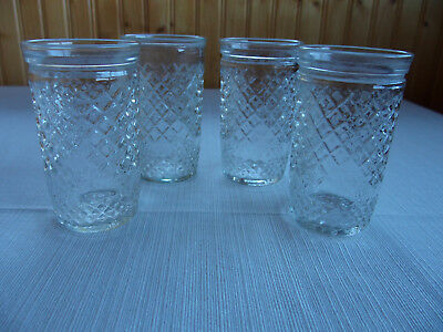 Lot of 4 Vintage Jelly Jars ~ diamond pattern