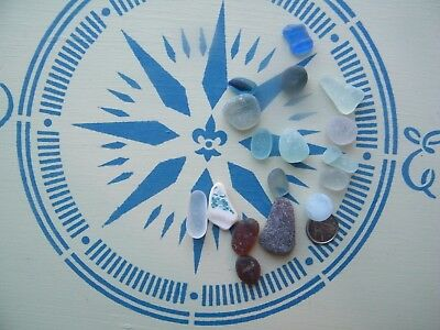 Authentic NS beach sea glass marble cobalt grey  seafoam white pottery brown