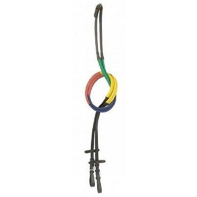 Gallop Black Leather Multi Coloured / Rainbow Training Rubber Grip Reins - Pony