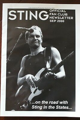 Sting Official Fan Club Newsletter, Sep 2000