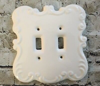Vintage Off White Ceramic Electric Light Cover & Plate, Double Switch Plate Vtg