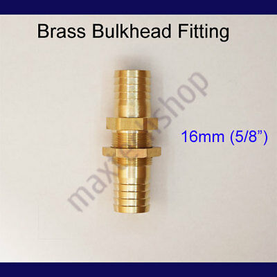 """5/8"""" 16mm Brass Bulkhead Fitting Hose Barb Mender Pipe Tube Fuel Water Boat Air"""