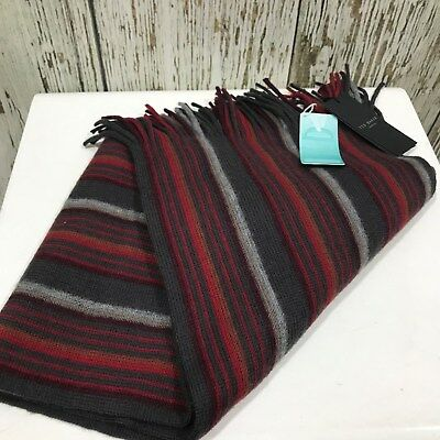 NEW TED BAKER Multi Coloured Wool Mens Winter Scarf Tassel Edge 30193