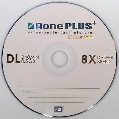 10 AONE Double Layer Branded Non Printable 8.5GB(8x) Gold Edition DVD+R DL