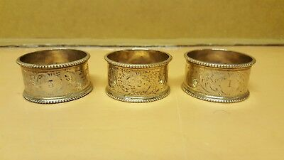 STERLING SILVER NAPKIN RINGS HALLMARKED C1912 SHEFFIELD MARTIN HALL 65grams